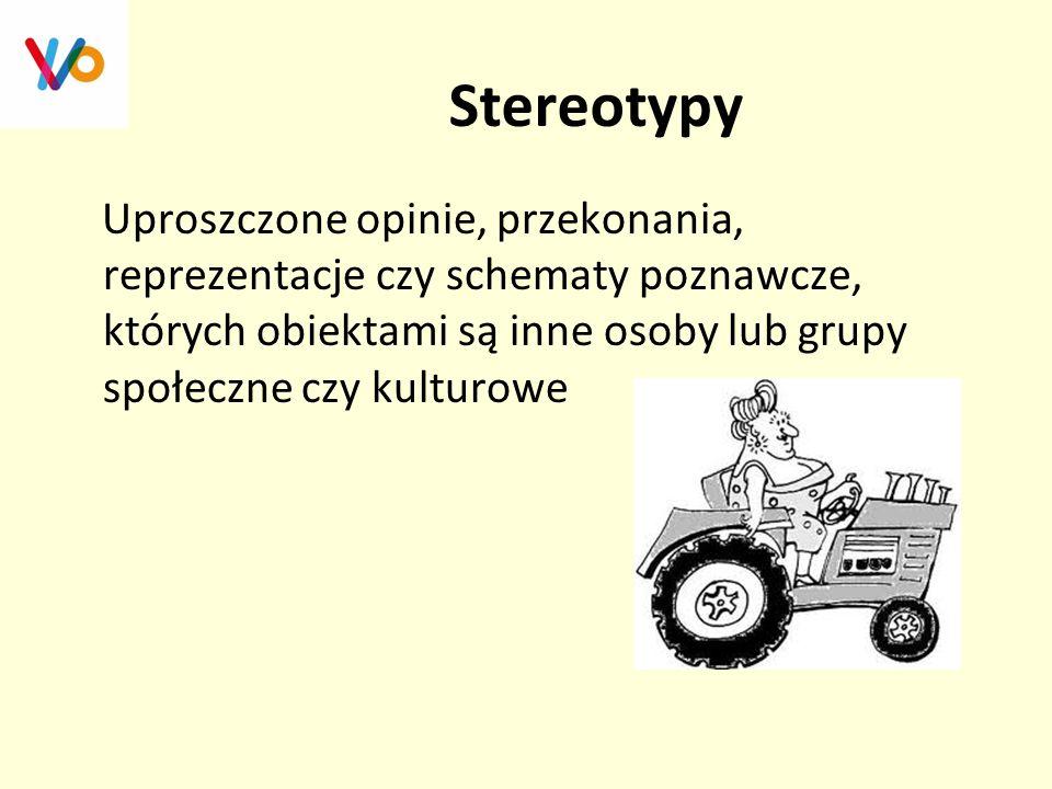 Stereotypy Uproszczone opinie, przekonania, reprezentacje czy schematy poznawcze, których obiektami są inne osoby lub grupy społeczne czy kulturowe.