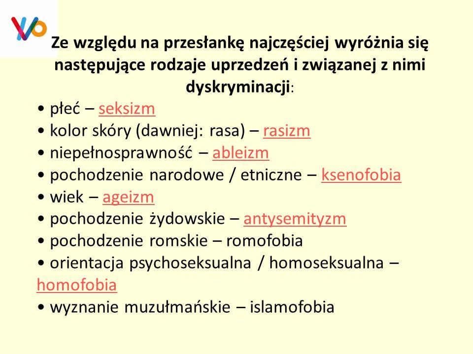 Ze względu na przesłankę najczęściej wyróżnia się następujące rodzaje uprzedzeń i związanej z nimi dyskryminacji: