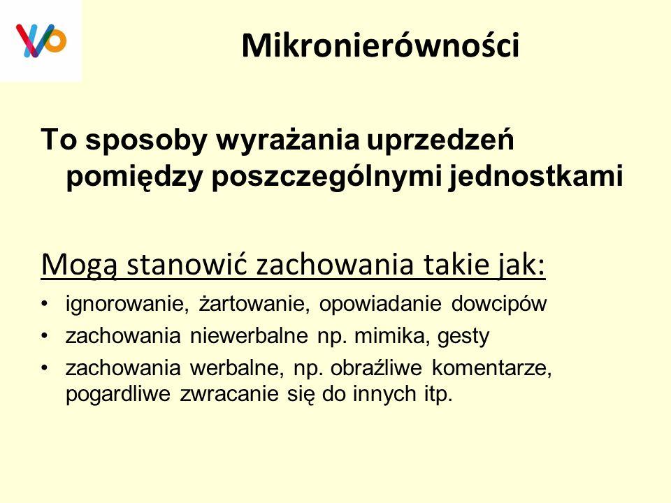 Mikronierówności Mogą stanowić zachowania takie jak: