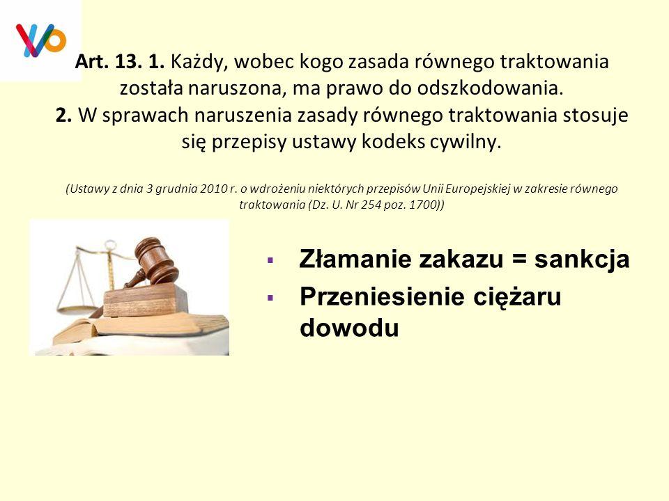 Złamanie zakazu = sankcja Przeniesienie ciężaru dowodu
