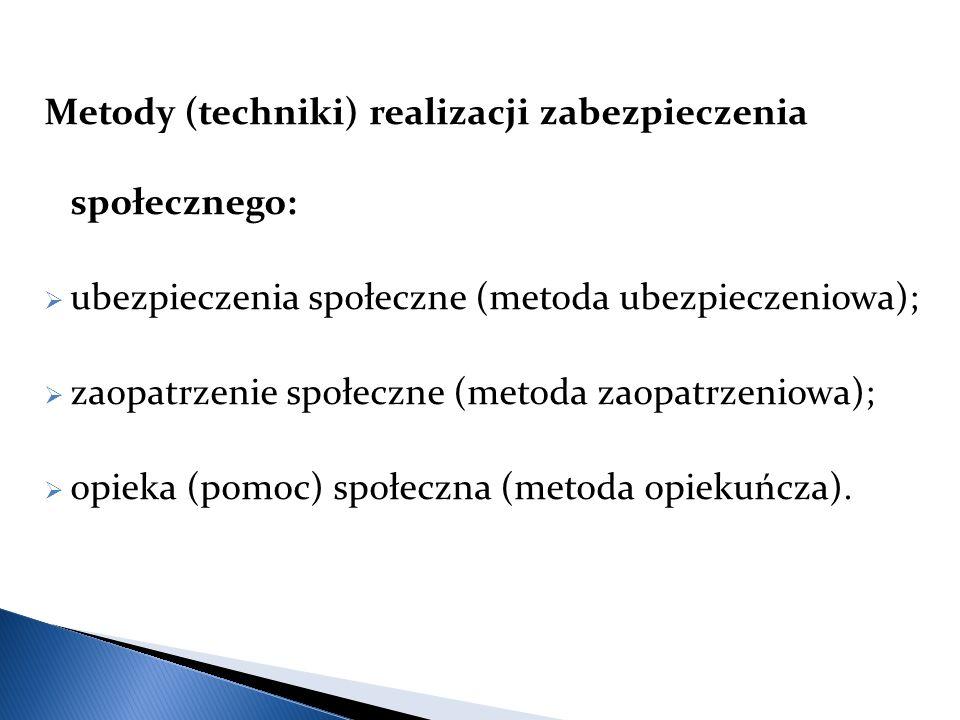Metody (techniki) realizacji zabezpieczenia społecznego:
