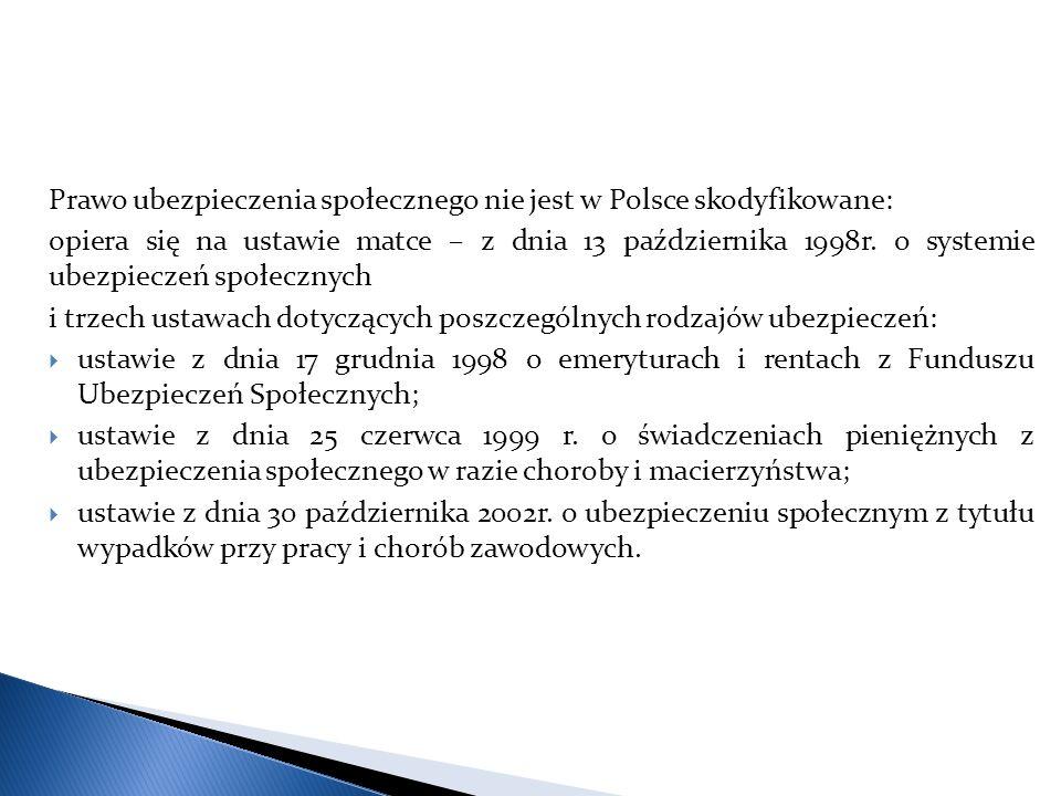 Prawo ubezpieczenia społecznego nie jest w Polsce skodyfikowane: