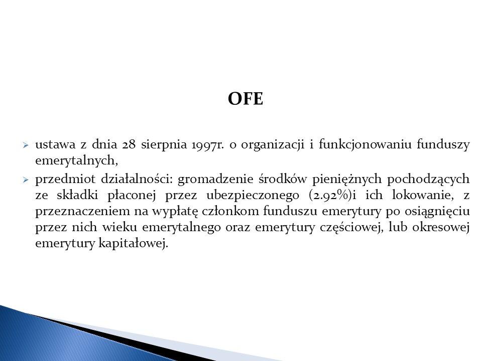OFE ustawa z dnia 28 sierpnia 1997r. o organizacji i funkcjonowaniu funduszy emerytalnych,