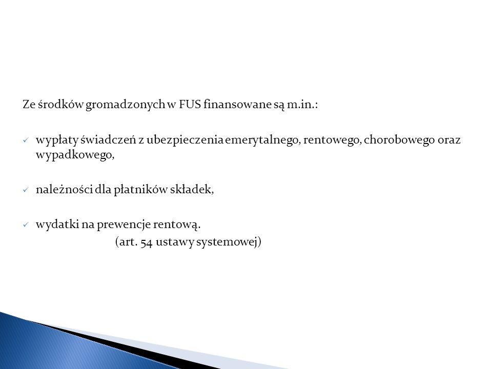 Ze środków gromadzonych w FUS finansowane są m.in.: