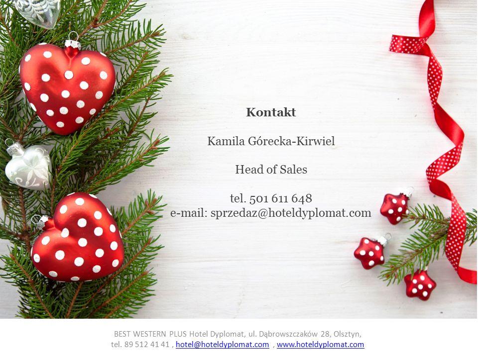 Kontakt Kamila Górecka-Kirwiel Head of Sales tel