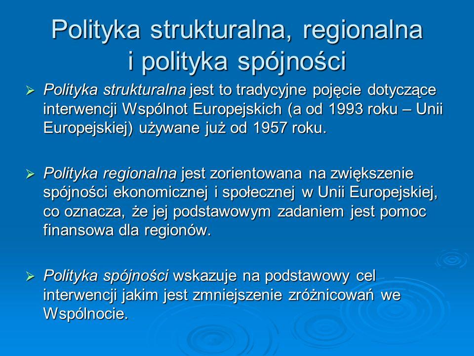Polityka strukturalna, regionalna i polityka spójności