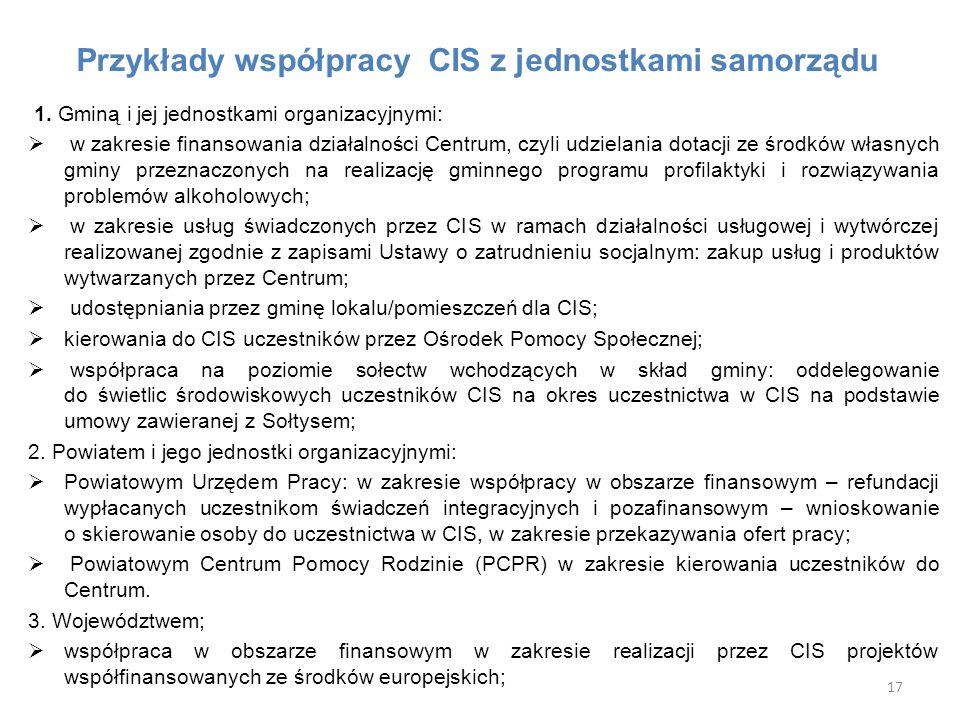 Przykłady współpracy CIS z jednostkami samorządu
