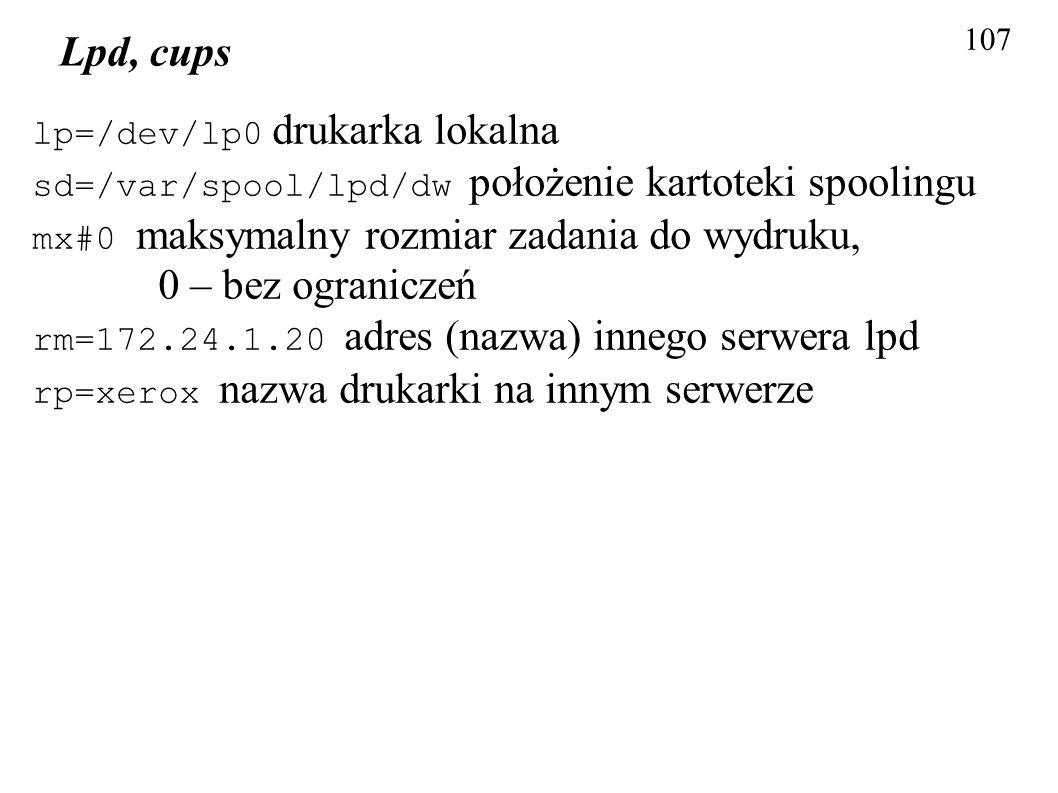 Lpd, cups lp=/dev/lp0 drukarka lokalna