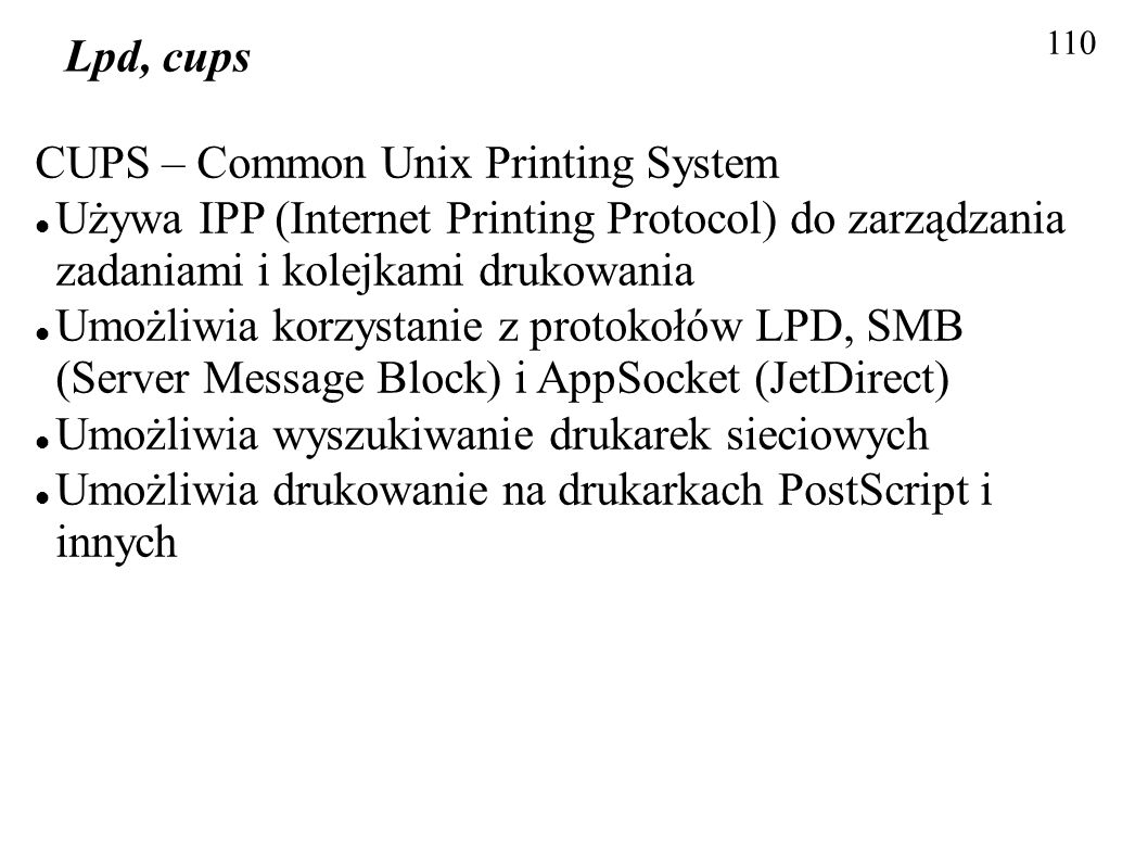 CUPS – Common Unix Printing System