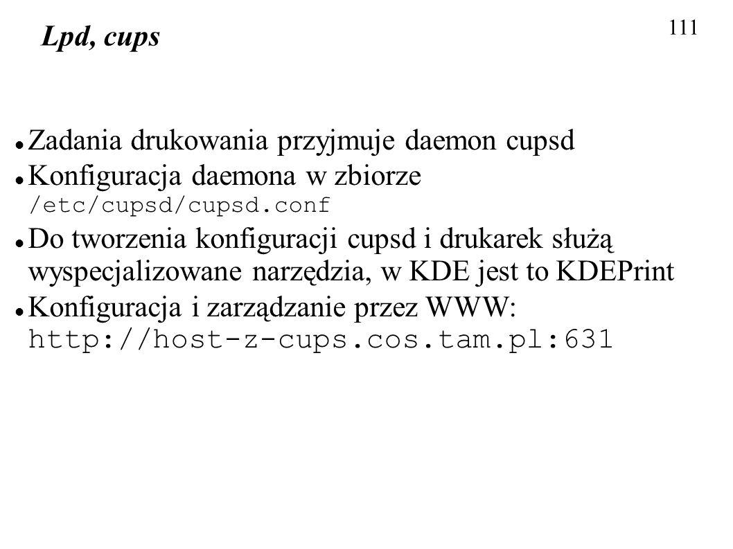 Zadania drukowania przyjmuje daemon cupsd