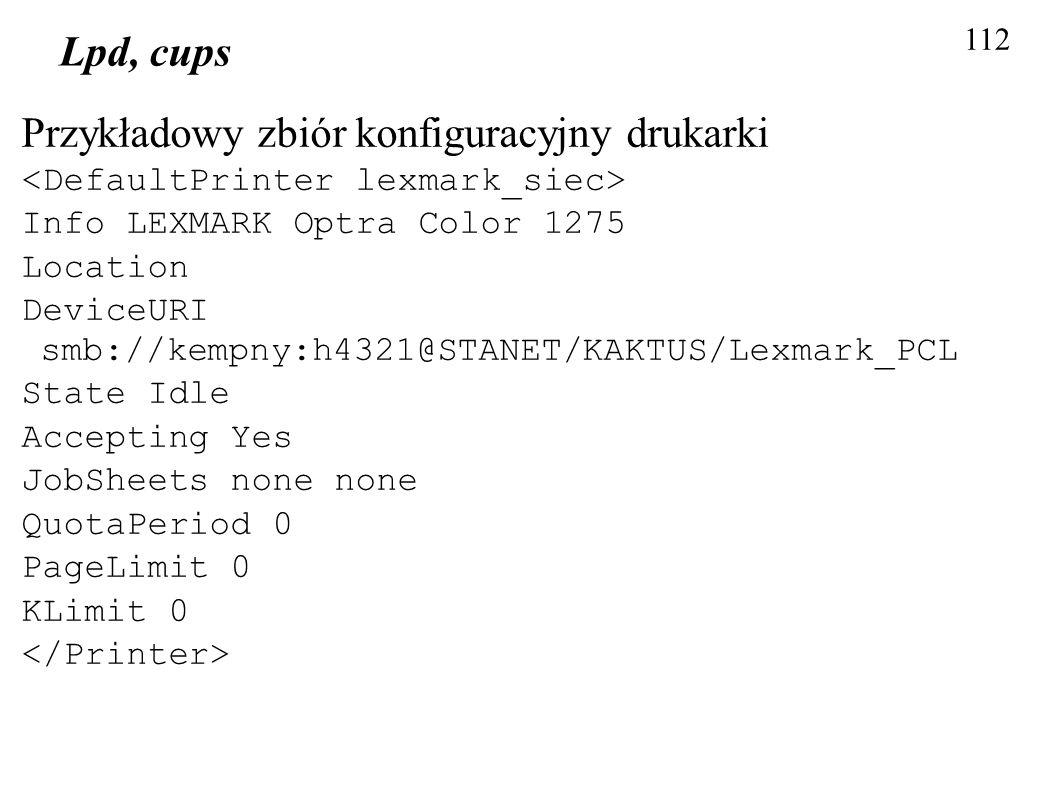 Przykładowy zbiór konfiguracyjny drukarki