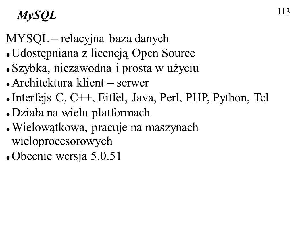 MYSQL – relacyjna baza danych Udostępniana z licencją Open Source
