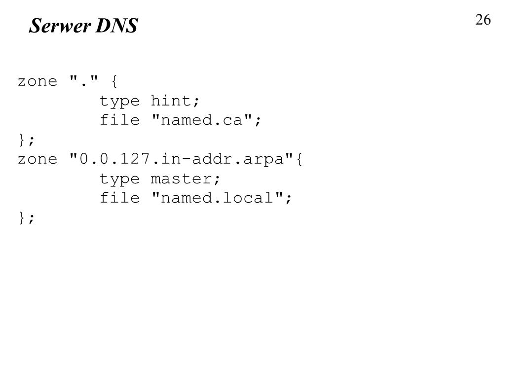 Serwer DNS zone . { type hint; file named.ca ; };