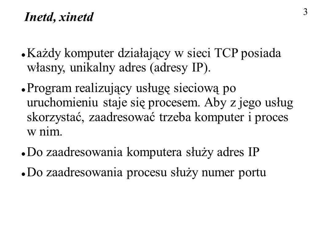 Do zaadresowania komputera służy adres IP