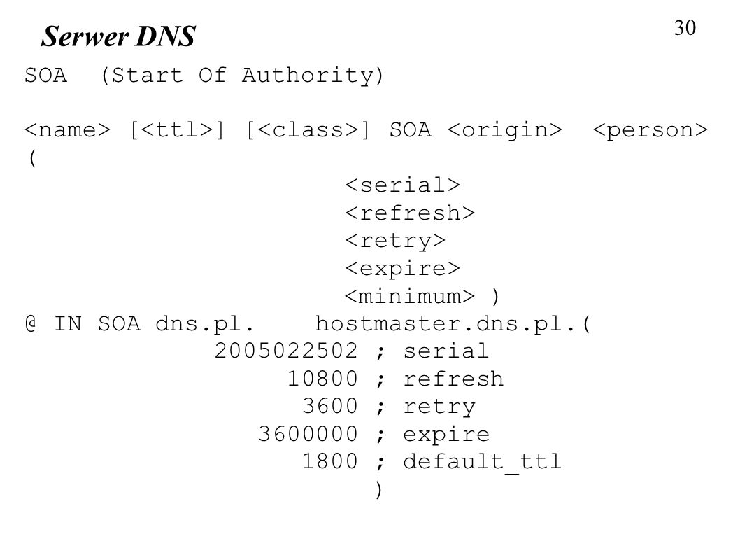 Serwer DNS SOA (Start Of Authority)‏