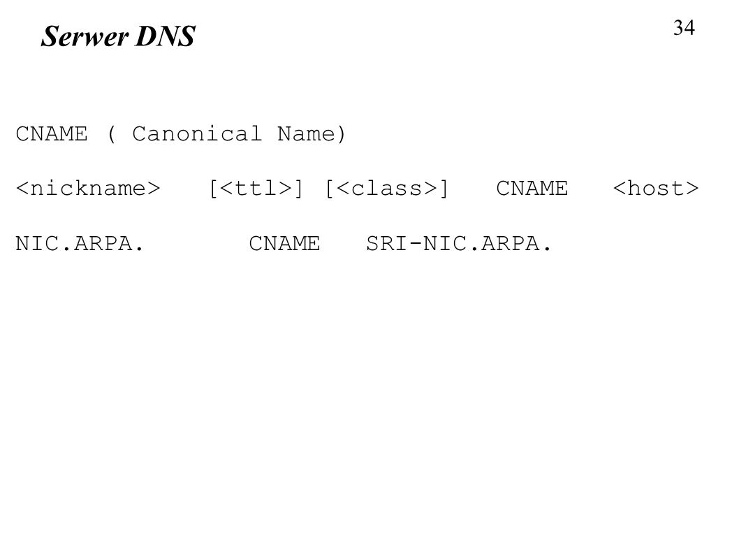 Serwer DNS CNAME ( Canonical Name)‏