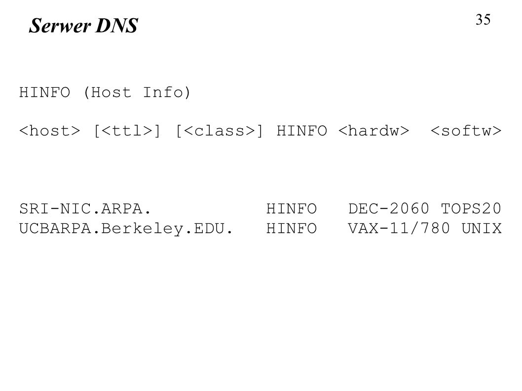 Serwer DNS HINFO (Host Info)