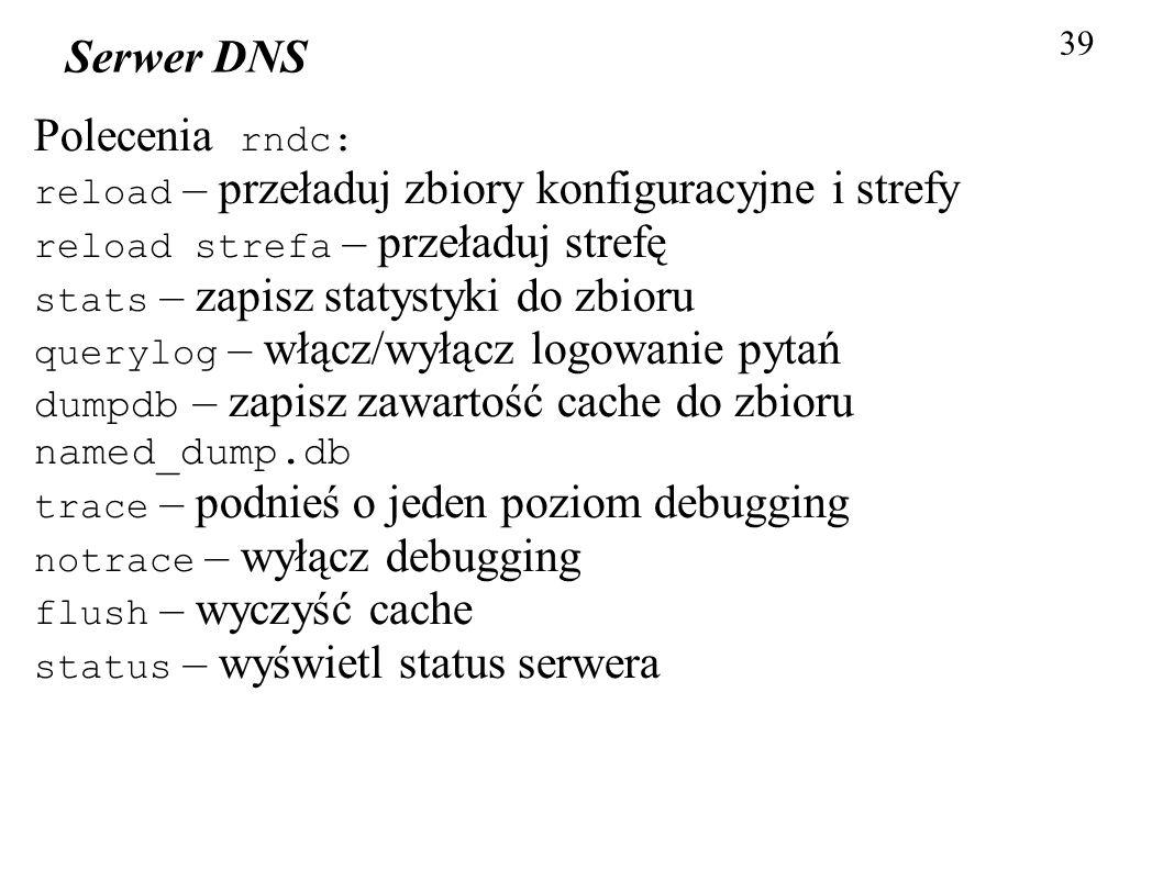 Serwer DNS Polecenia rndc: