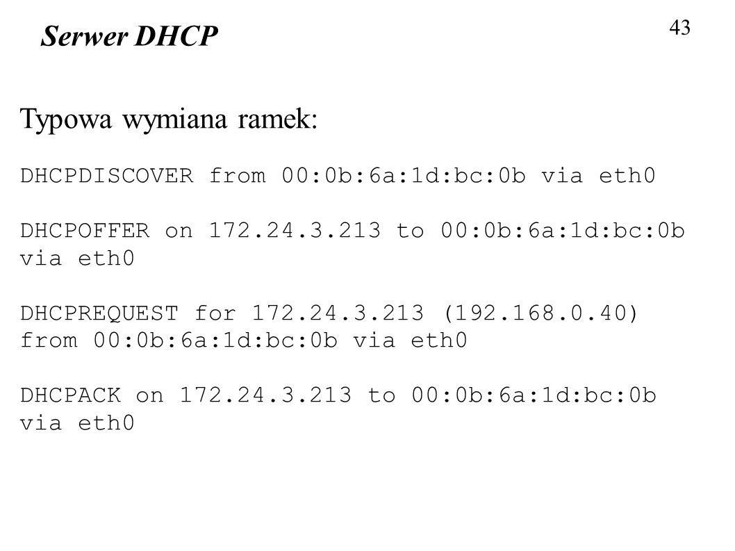 Serwer DHCP Typowa wymiana ramek: