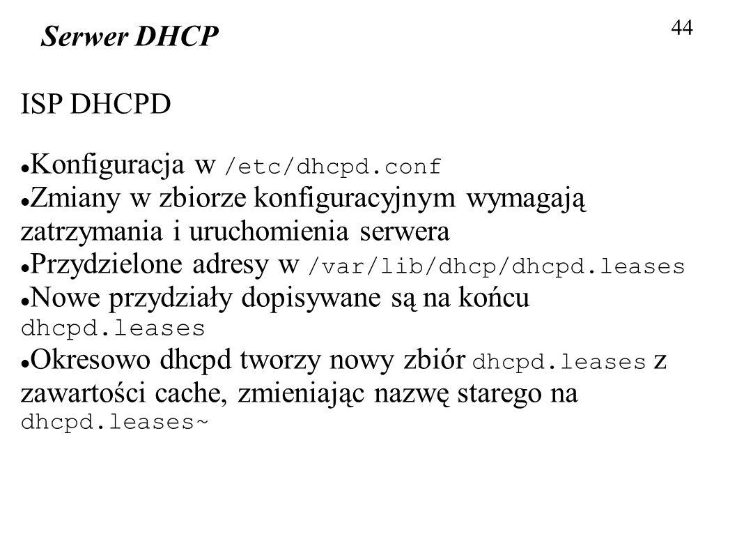 Konfiguracja w /etc/dhcpd.conf