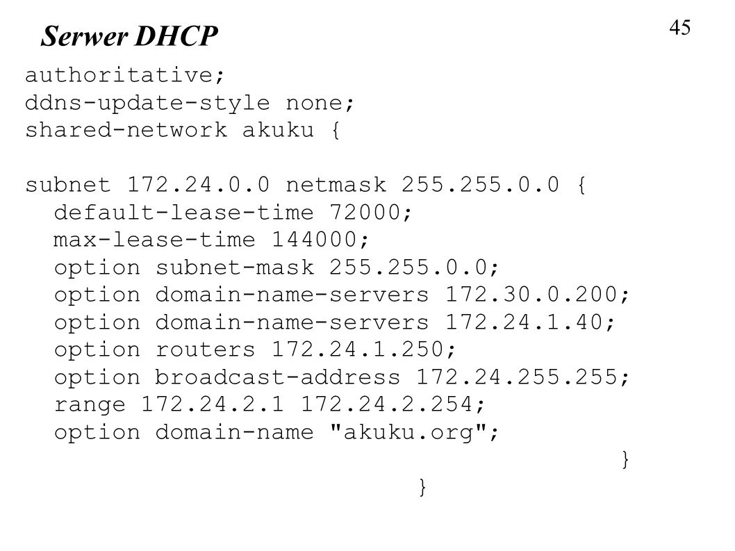 Serwer DHCP authoritative; ddns-update-style none;