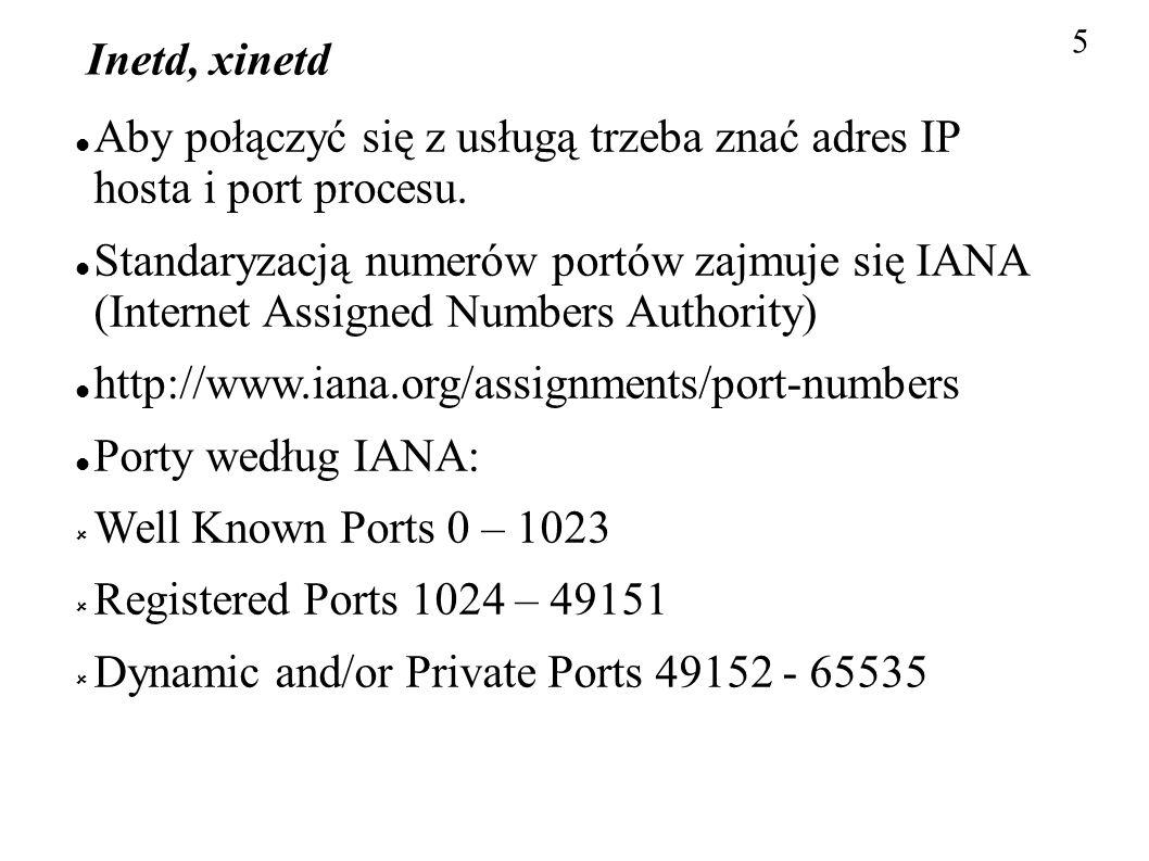 Aby połączyć się z usługą trzeba znać adres IP hosta i port procesu.