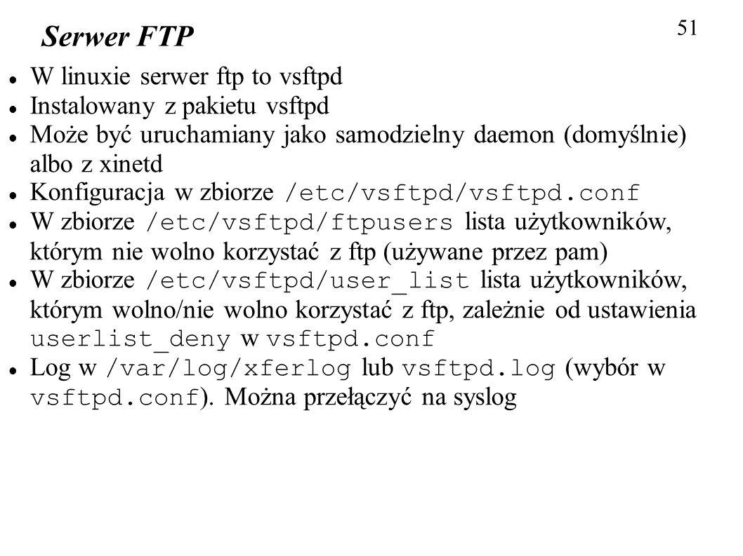 Serwer FTP W linuxie serwer ftp to vsftpd Instalowany z pakietu vsftpd