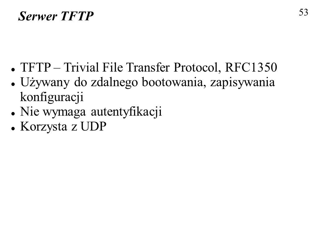 TFTP – Trivial File Transfer Protocol, RFC1350
