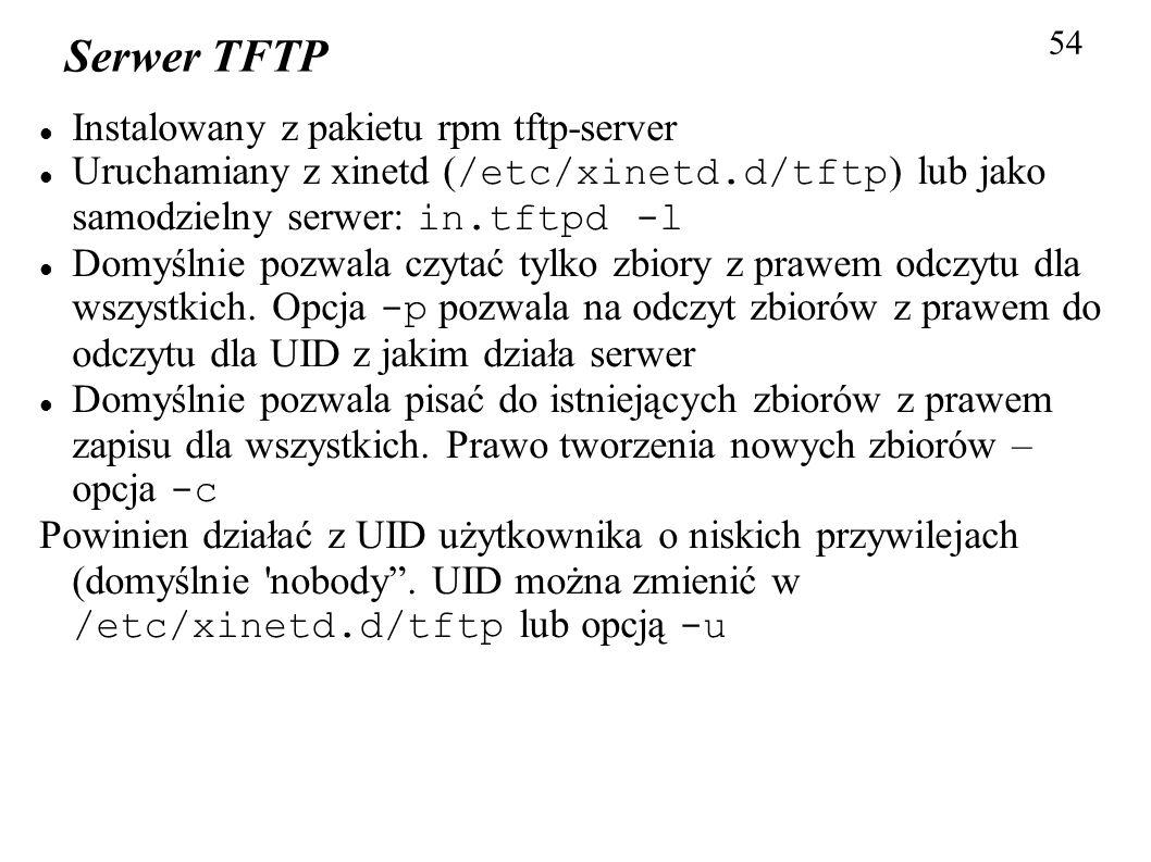 Serwer TFTP Instalowany z pakietu rpm tftp-server