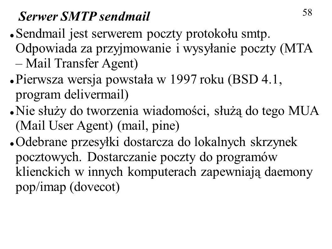 Pierwsza wersja powstała w 1997 roku (BSD 4.1, program delivermail)
