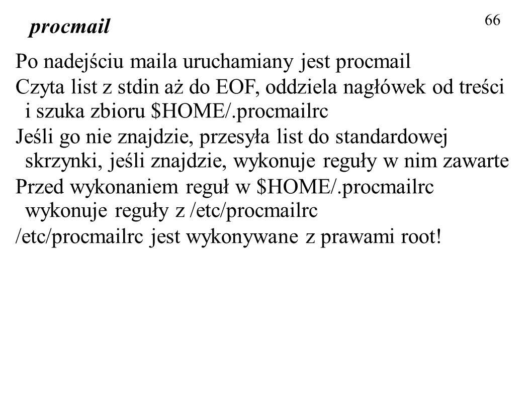 Po nadejściu maila uruchamiany jest procmail