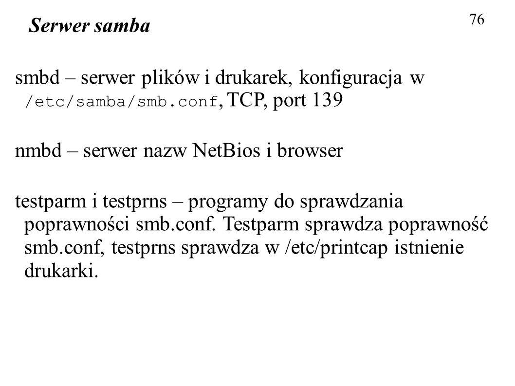 nmbd – serwer nazw NetBios i browser
