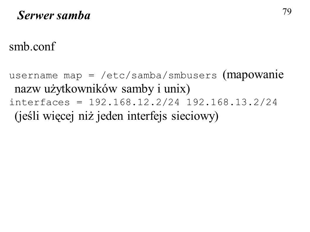79 Serwer samba. smb.conf. username map = /etc/samba/smbusers (mapowanie nazw użytkowników samby i unix)