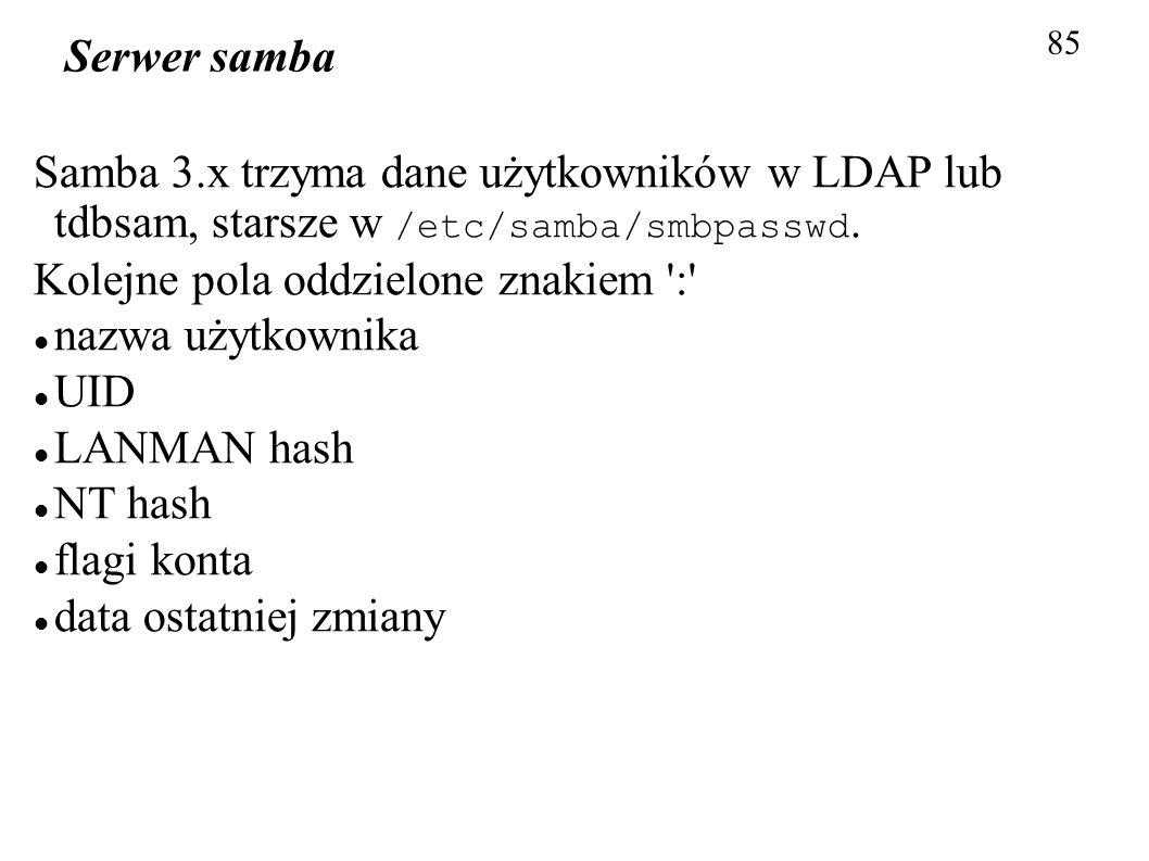 Kolejne pola oddzielone znakiem : nazwa użytkownika UID LANMAN hash