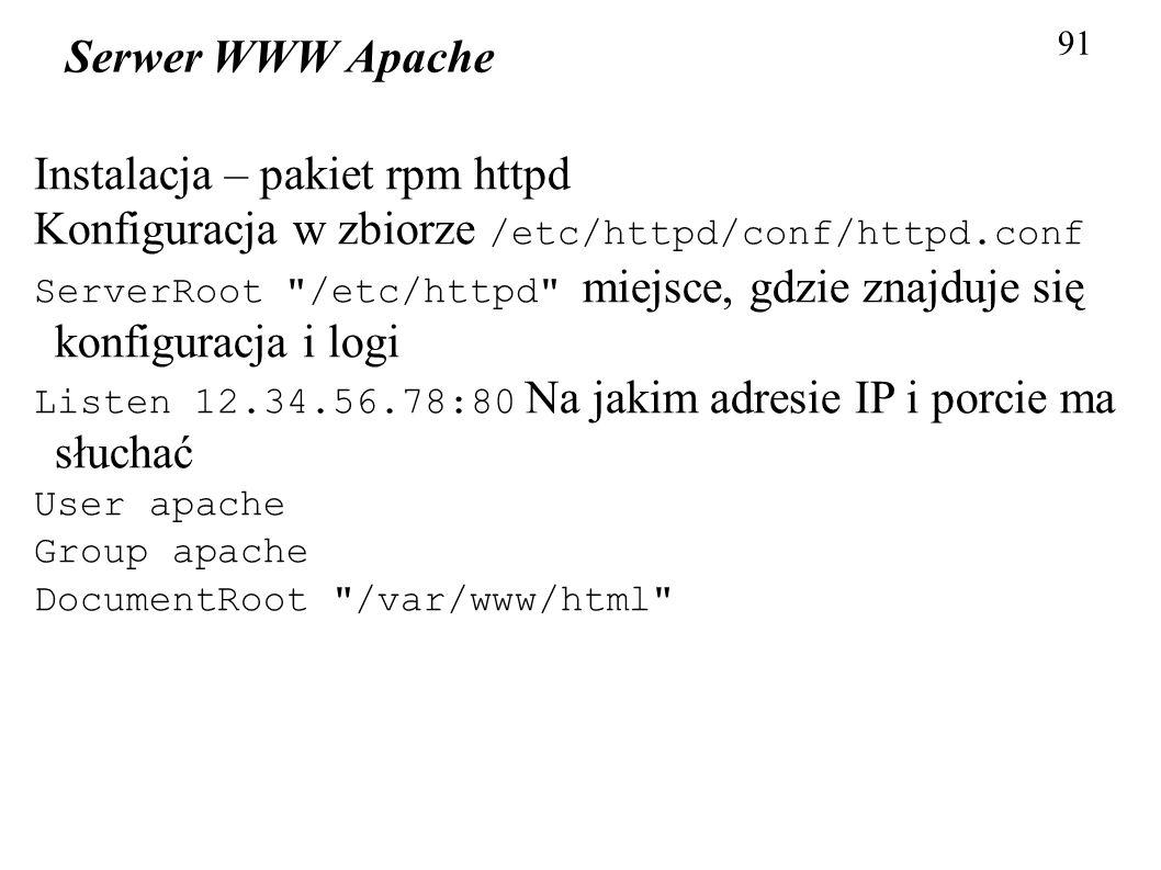 Instalacja – pakiet rpm httpd