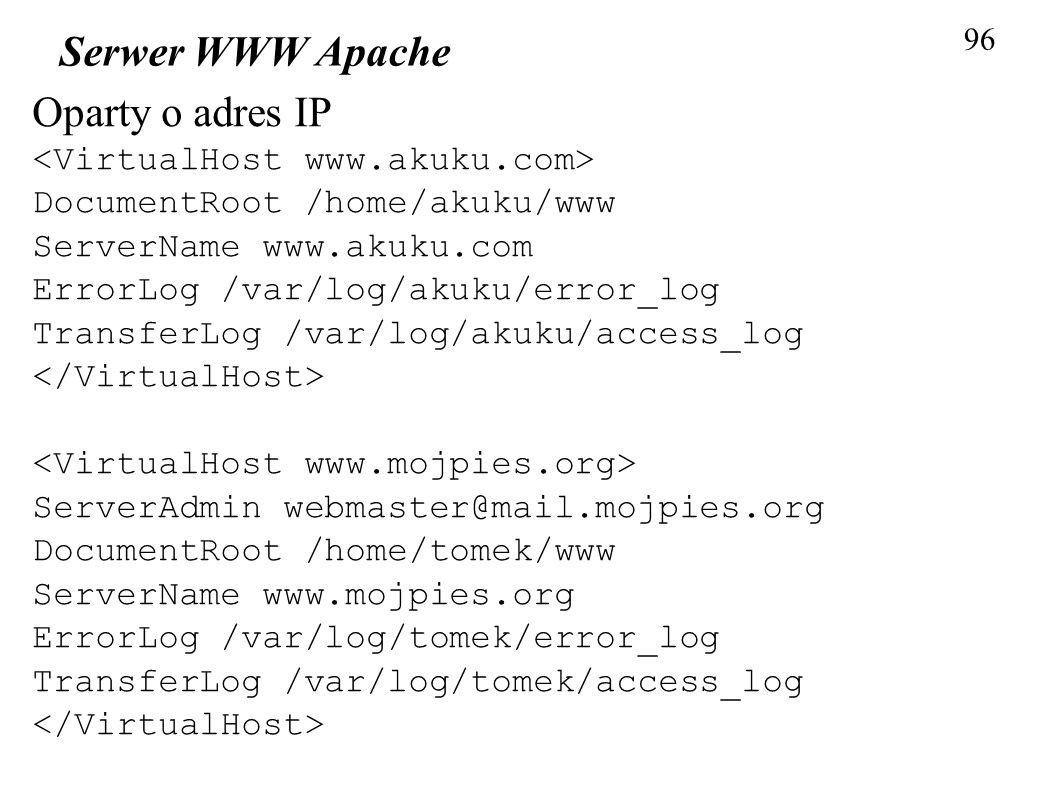 Serwer WWW Apache Oparty o adres IP <VirtualHost www.akuku.com>