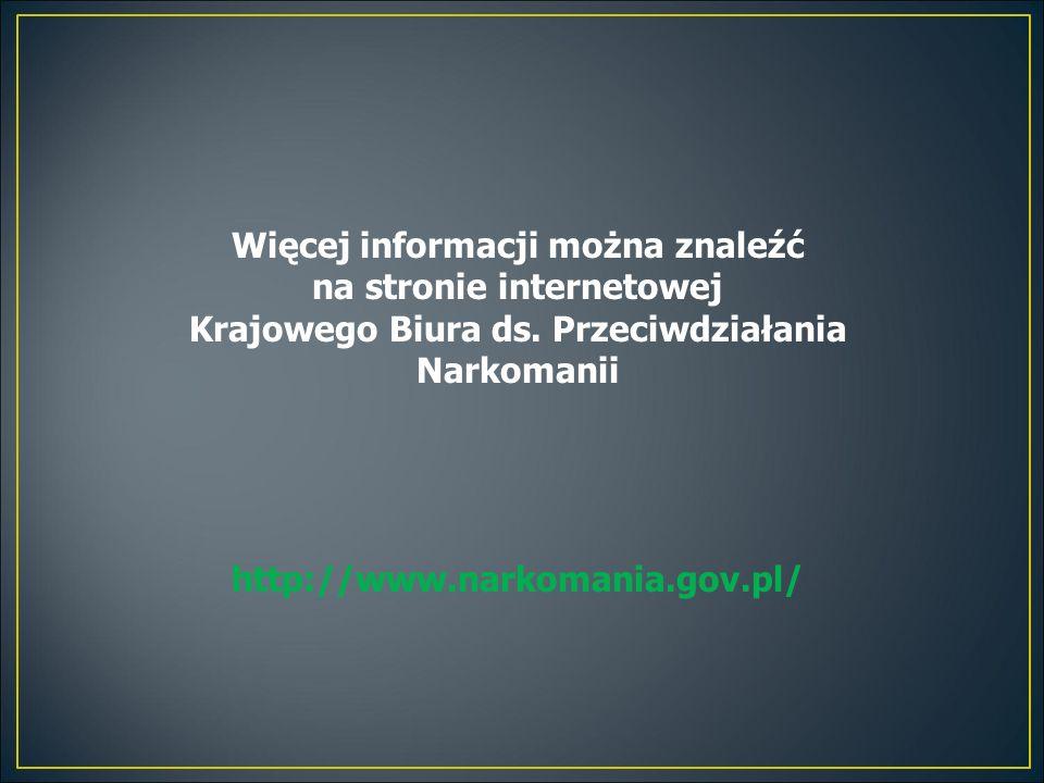 Więcej informacji można znaleźć na stronie internetowej Krajowego Biura ds. Przeciwdziałania Narkomanii