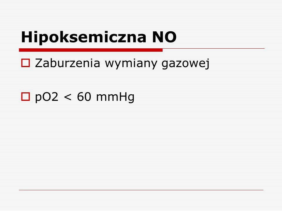 Hipoksemiczna NO Zaburzenia wymiany gazowej pO2 < 60 mmHg