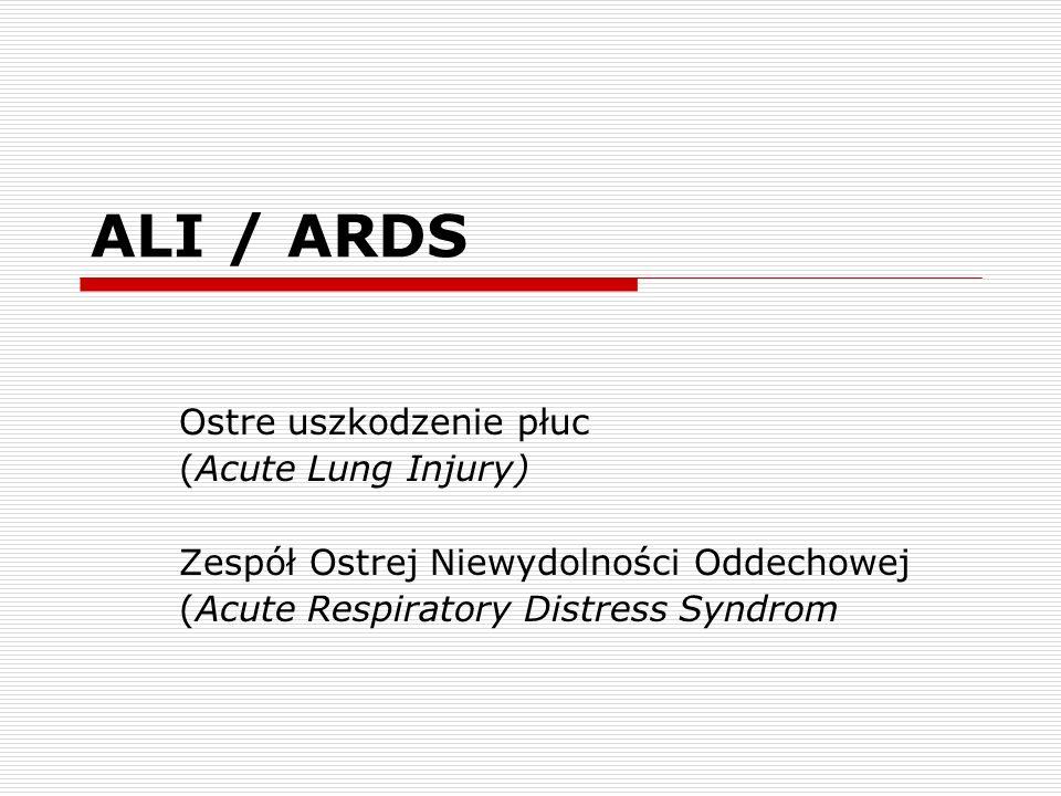 ALI / ARDS Ostre uszkodzenie płuc (Acute Lung Injury)
