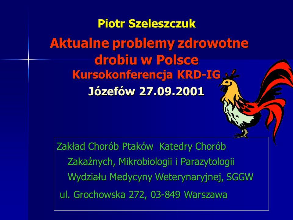 Piotr Szeleszczuk Aktualne problemy zdrowotne drobiu w Polsce Kursokonferencja KRD-IG Józefów 27.09.2001