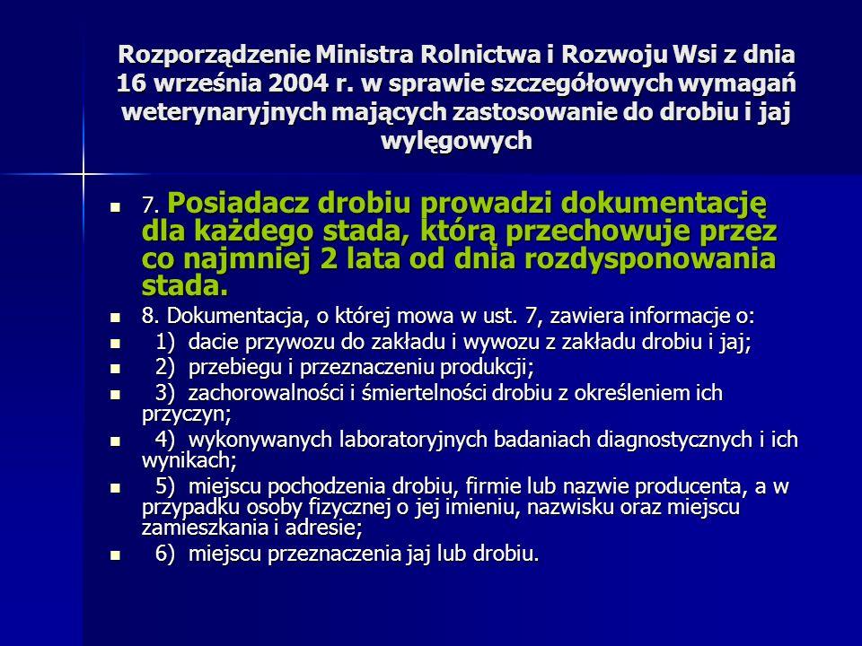 Rozporządzenie Ministra Rolnictwa i Rozwoju Wsi z dnia 16 września 2004 r. w sprawie szczegółowych wymagań weterynaryjnych mających zastosowanie do drobiu i jaj wylęgowych
