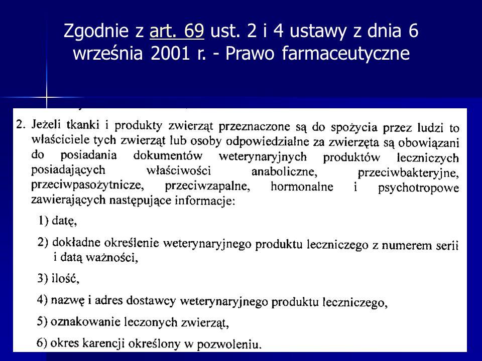 Zgodnie z art. 69 ust. 2 i 4 ustawy z dnia 6 września 2001 r