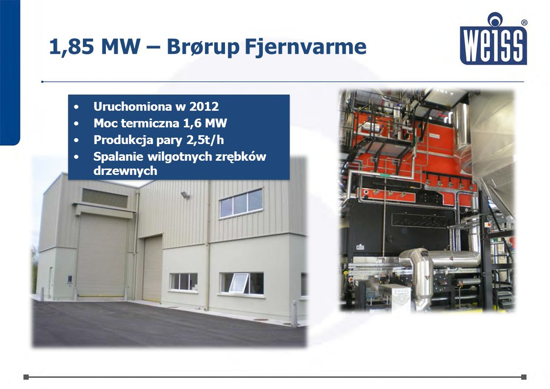 1,85 MW – Brørup Fjernvarme Uruchomiona w 2012 Moc termiczna 1,6 MW