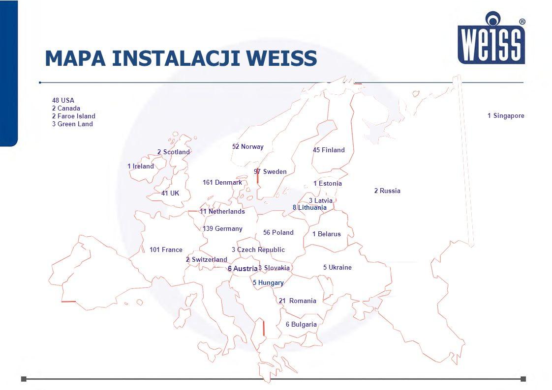 MAPA INSTALACJI WEISS 6 Austria3 Slovakia 48 USA 2 Canada Faroe Island