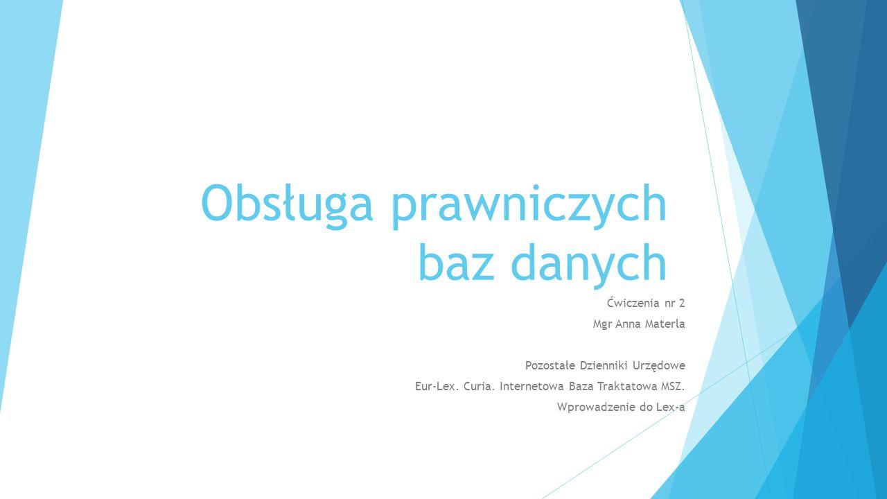 Obsługa prawniczych baz danych