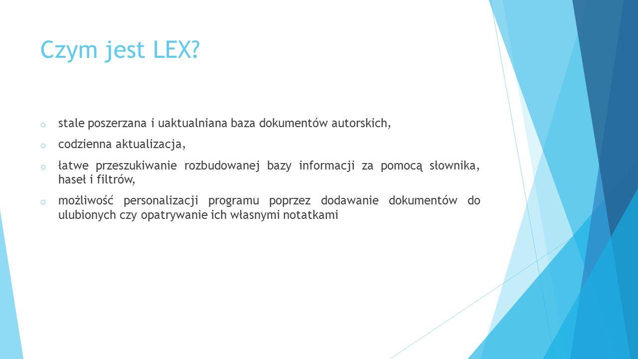 Czym jest LEX stale poszerzana i uaktualniana baza dokumentów autorskich, codzienna aktualizacja,