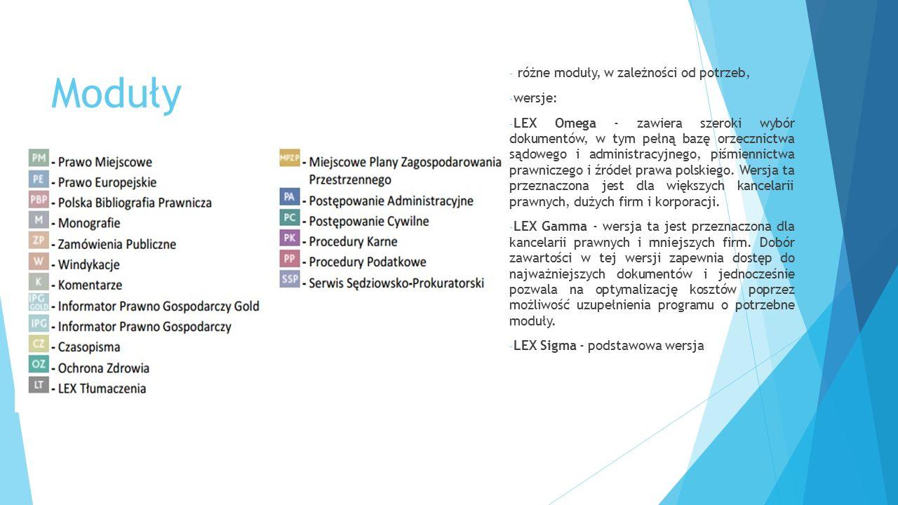 Moduły różne moduły, w zależności od potrzeb, wersje: