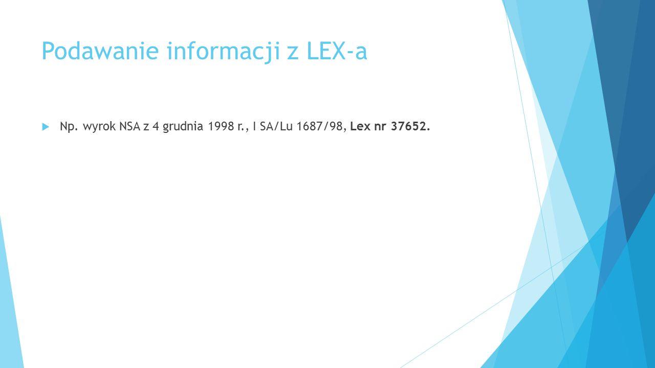 Podawanie informacji z LEX-a