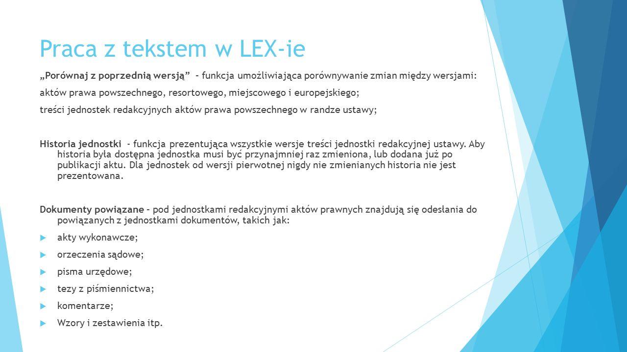 Praca z tekstem w LEX-ie