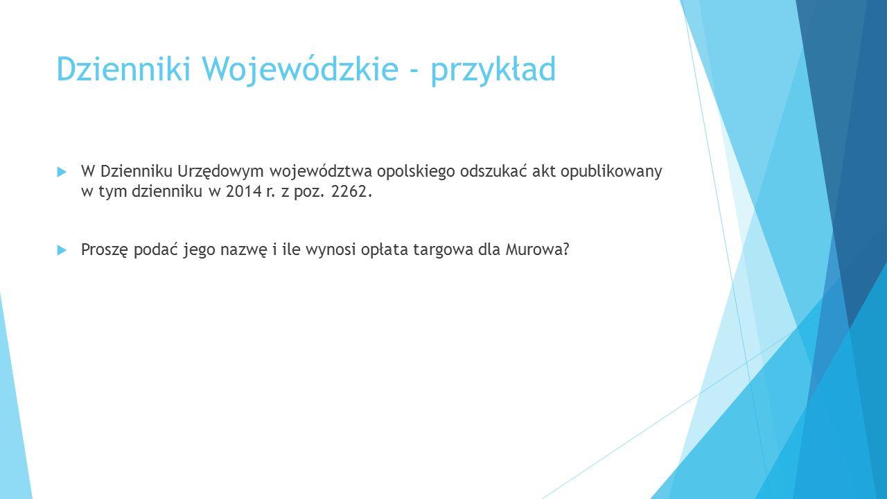 Dzienniki Wojewódzkie - przykład